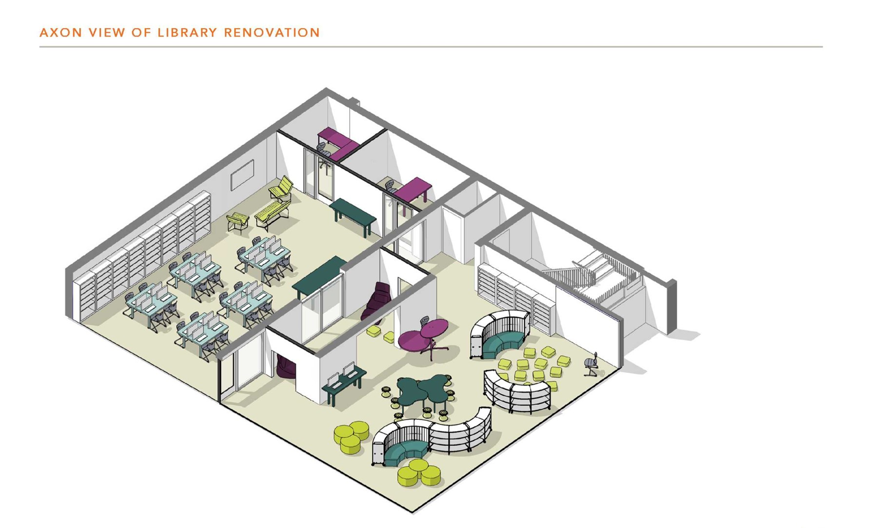 Axon view of library renovation